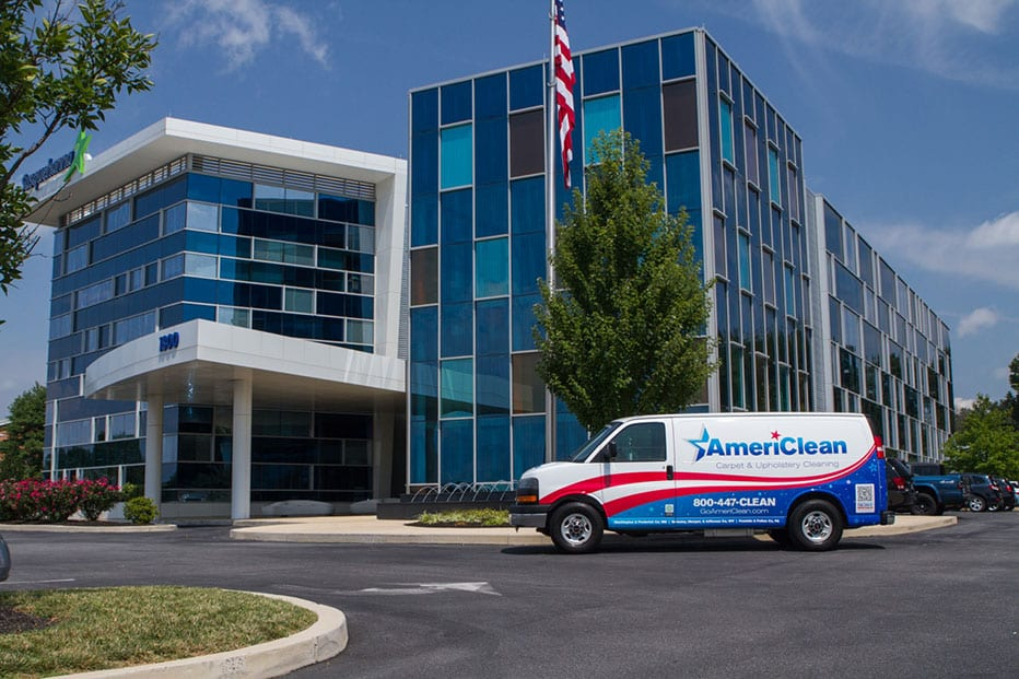 AmeriClean Van in a Commercial Area