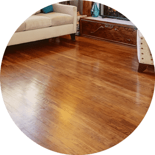Hardwood Floor with restored shine after cleaning.