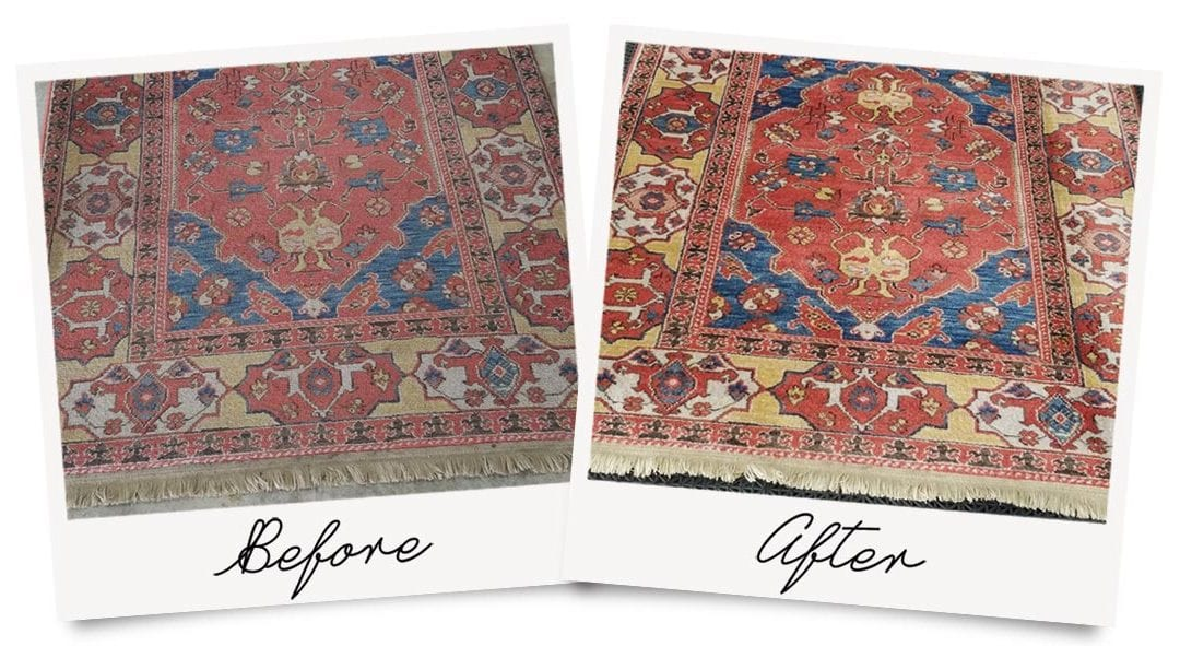 Oriental Rug Cleaning before and after photo, showing colors restored after deep cleaning.