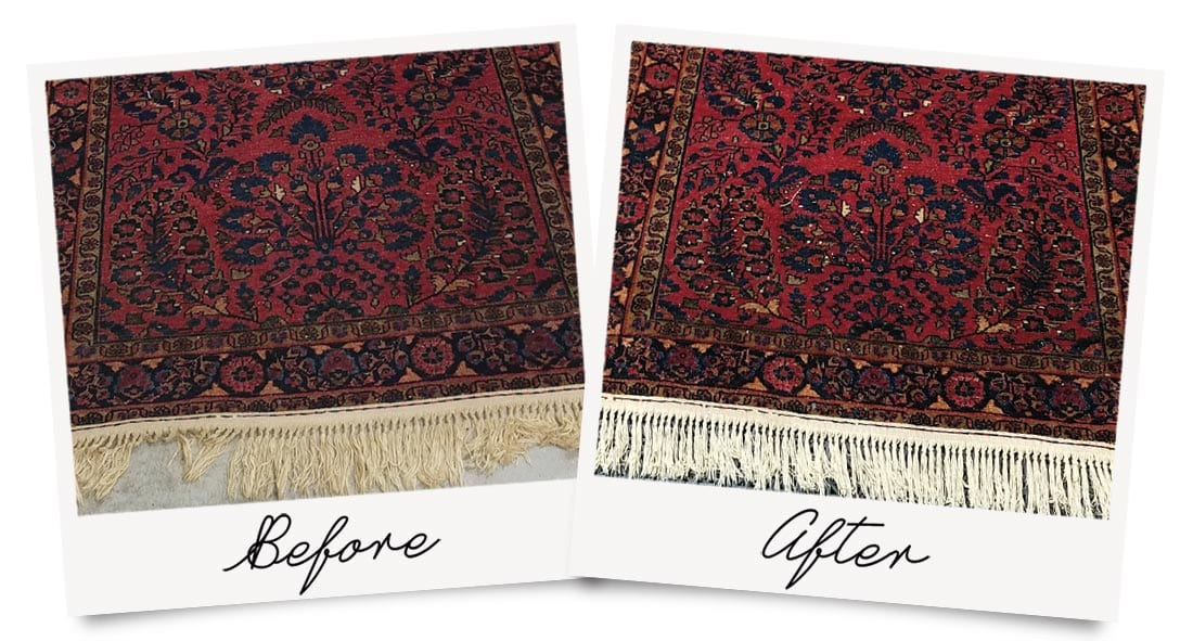 Oriental Rug Cleaning Before and After Photo, showing restored colors.
