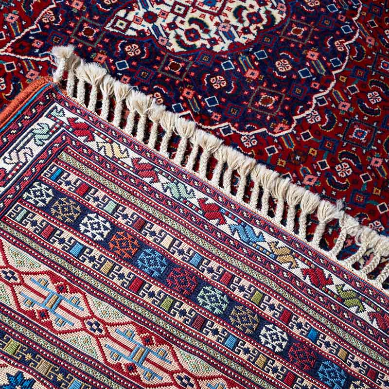 Cleaned Oriental Rug with vibrant colors.
