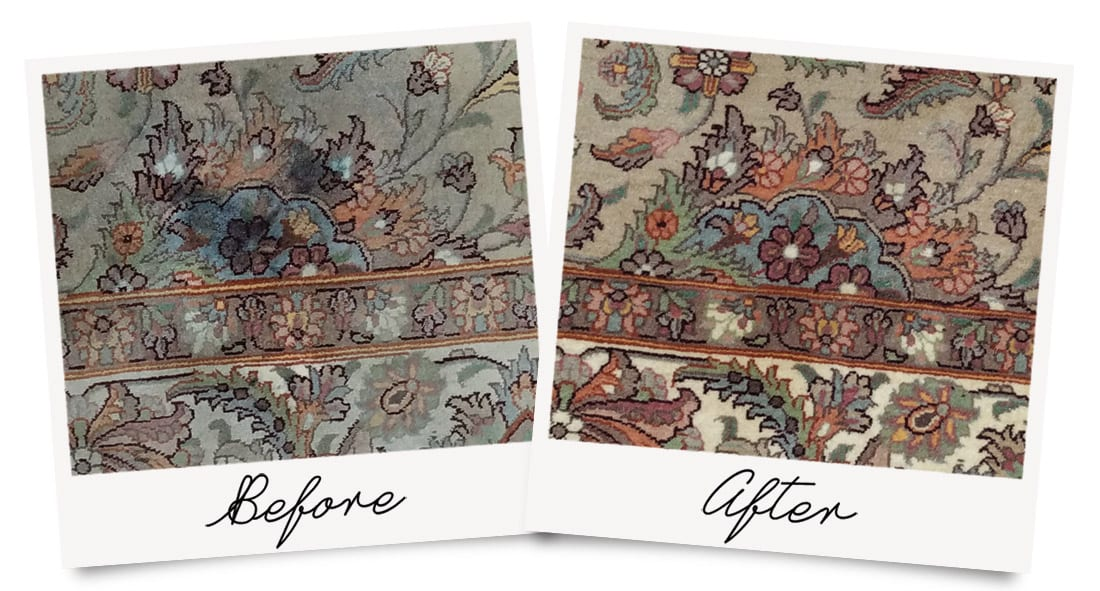 Rug Cleaning Before and After Photo, showing renewed color after a deep cleaning.