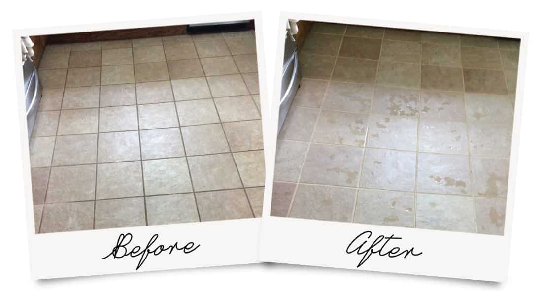 Tile and Grout Cleaning Before and After Photo, with great results.