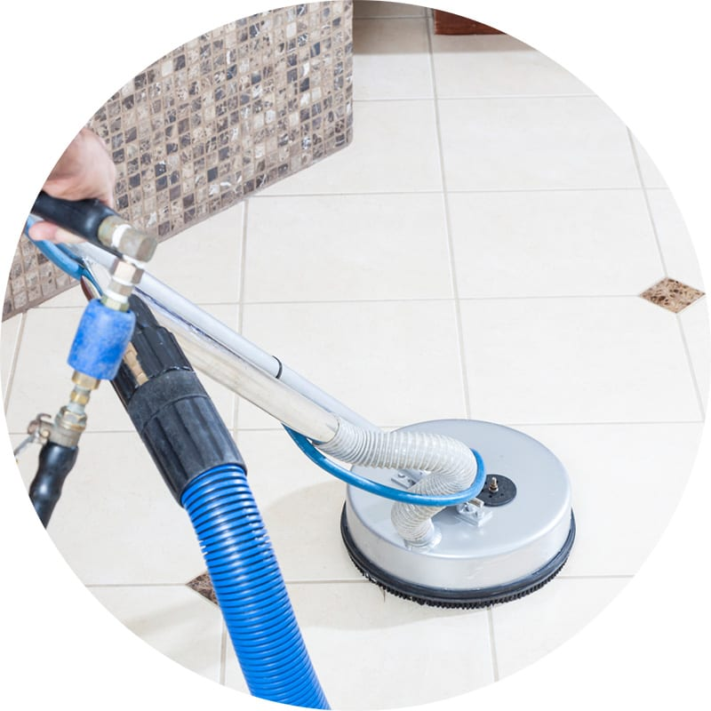 Tile and grout cleaning, removing dirt and soil using powerful professional cleaning equipment, leaving tile floors looking like new!