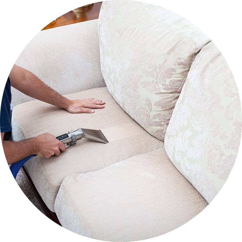 A white sofa gets deep cleaned by our upholstery cleaning experts at AmeriClean Cleaning Specialists