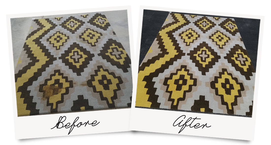 Before and after picture of a tufted area rug