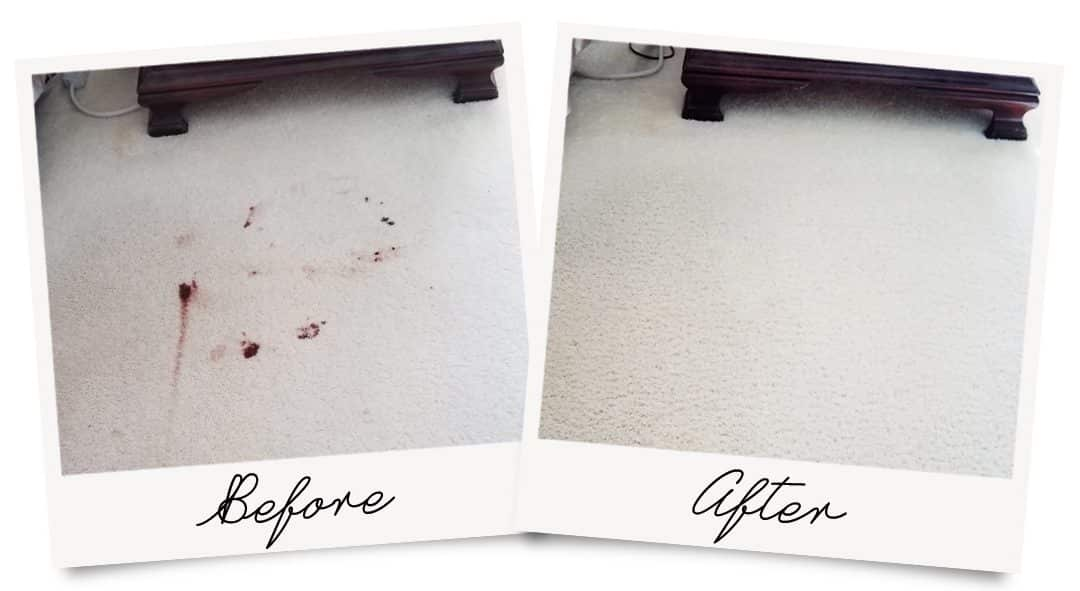 Before and After picture showing blood stain removal
